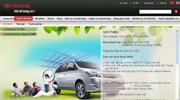 Toyota Việt Nam giới thiệu website mới nâng cấp